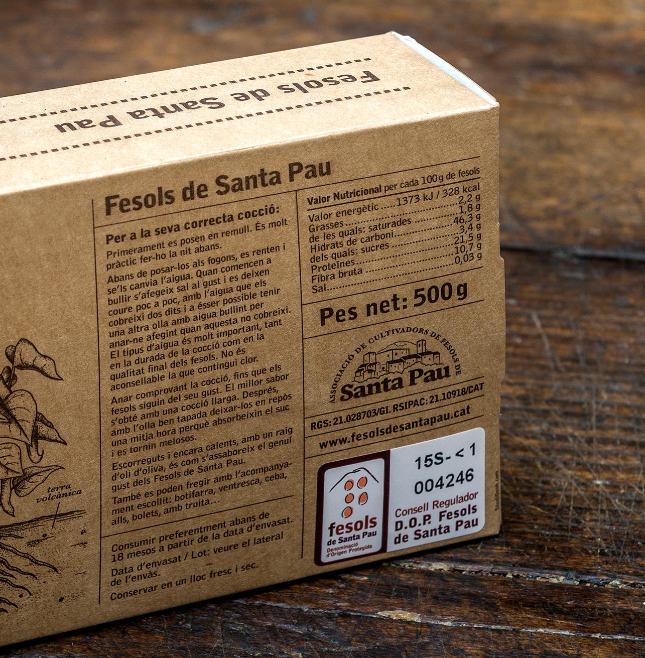 Envàs de Fesols de Santa Pau amb l'etiqueta del Consell Regulador