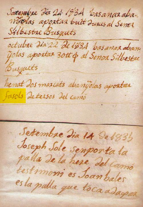 Manuscrit de 1834 en el que es parla dels Fesols de Santa Pau